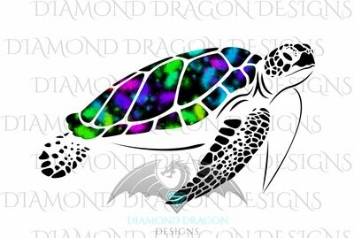 Turtles - Sea Turtle, Galaxy Sea Turtle, Rainbow Sea Turtle, Colorful Turtle, Digital Image