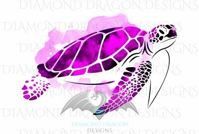 Turtles - Sea Turtle, Watercolor Sea Turtle, Pink Sea Turtle, Digital Image