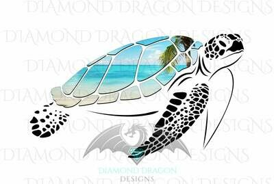 Turtles - Sea Turtle, Beach Sea Turtle, Beach Scene Sea Turtle, Ocean Sea Turtle, Digital Image