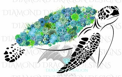 Turtles - Sea Turtle, Succulent, Turtle, Floral Sea Turtle, Ocean Sea Turtle, Digital Image