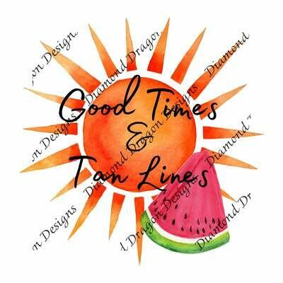 Watermelon - Summer, Good Times & Tan Lines, Summer Sun, Watermelon Slice, 2 Digital Images