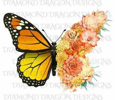 Butterflies - Succulent Butterfly, Orange Monarch Butterfly, Watercolor Butterfly, Butterfly with Succulents, Digital Image