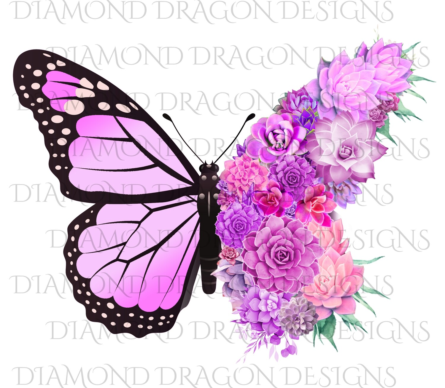 Butterfly - Succulent Butterfly, Light Pink Monarch Butterfly, Watercolor Butterfly, Butterfly with Succulents, Digital Image