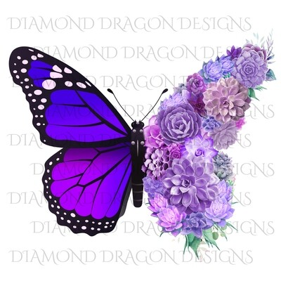 Butterfly - Succulent Butterfly, Purple Monarch Butterfly, Watercolor Butterfly, Butterfly with Succulents, Digital Image