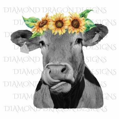 Cows - Heifer, Cute Cow, Sunflower Crown, Cowlick, Cow Tongue Out,High Quality, Digital Image