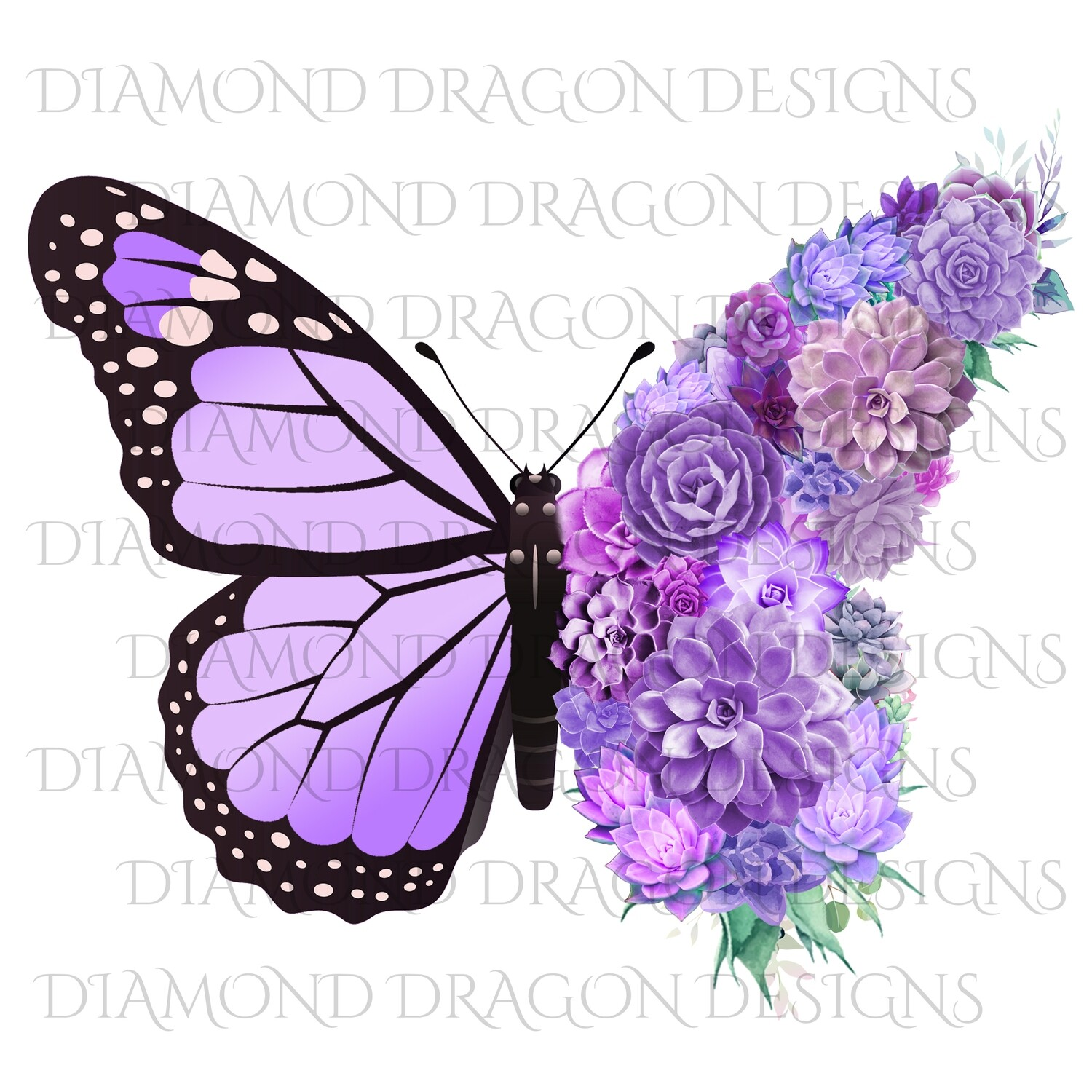 Butterfly - Succulent Butterfly, Light Purple Monarch Butterfly, Watercolor Butterfly, Butterfly with Succulents, Digital Image