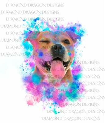 Dogs - Watercolor Pit Bull, Rainbow Pit Bull, Watercolor dog, Digital Image