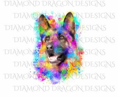 Dogs - Watercolor German Shepard, Rainbow German Shepard, Watercolor dog, Digital Image