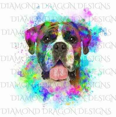 Dogs - Watercolor Boxer, Rainbow boxer, Watercolor dog, Digital Image