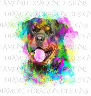 Dogs - Watercolor Rottweiler, Rainbow Rottweiler, Watercolor dog, Digital Image