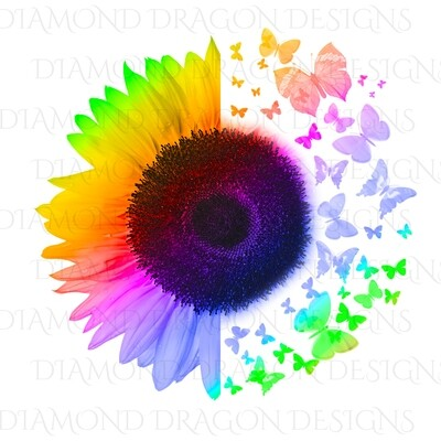 Sunflowers - Half Rainbow Sunflower, Butterfly Sunflower, Butterflies, Rainbow Sunflower, Digital Image