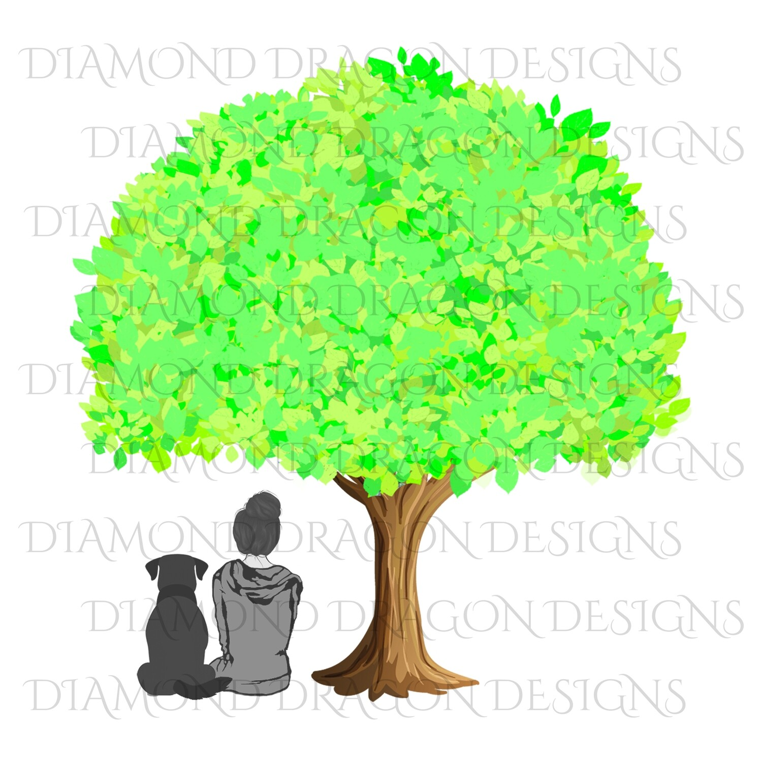 Dogs - Girl Who Loves Dogs, Girl & Dog Under Tree, Girls Best Friend, Woman and Dog Under Tree, Summer, Digital Image