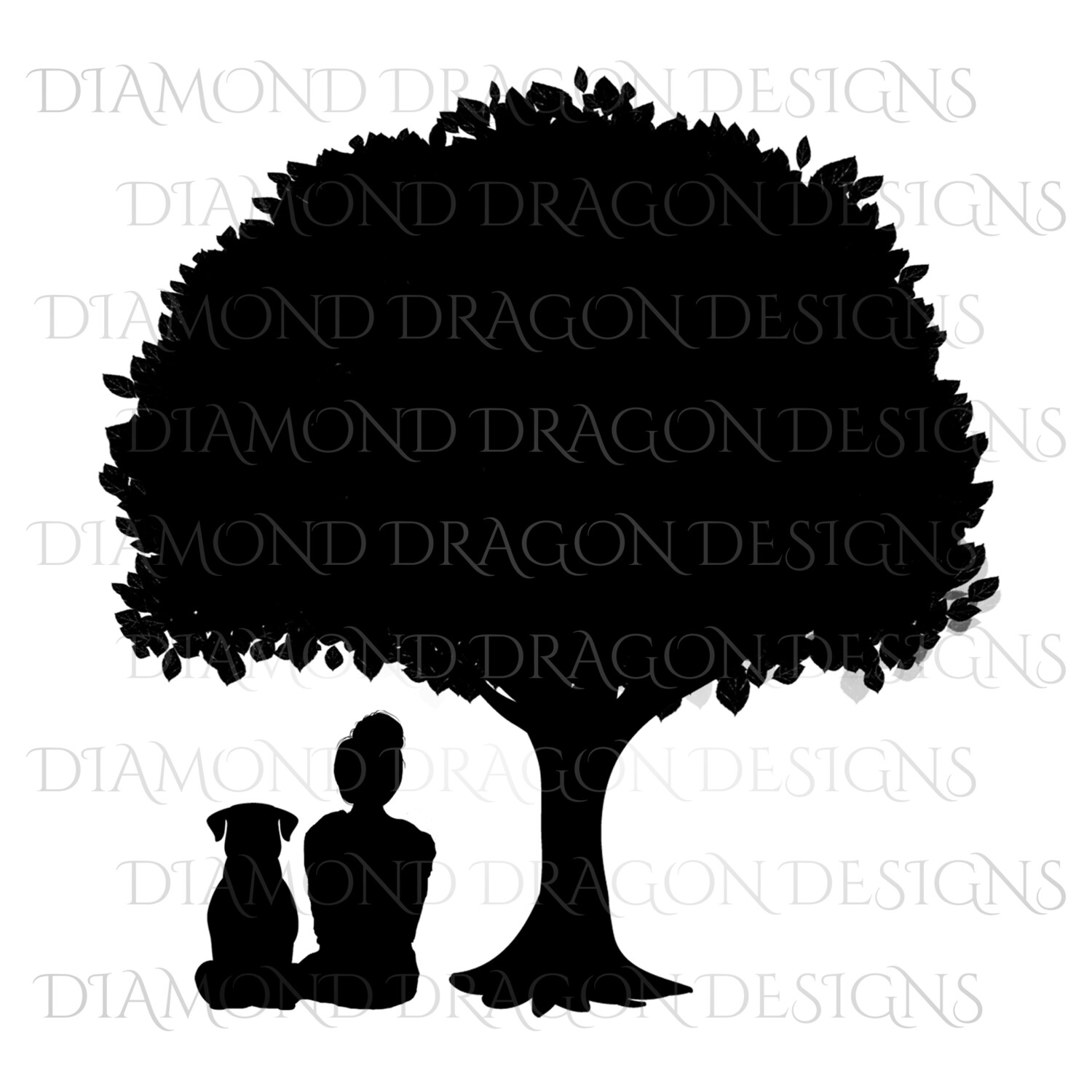 Dogs - Girl Who Loves Dogs, Girl & Dog Under Tree, Girls Best Friend, Woman and Dog Under Tree, Silhouette, Digital Image