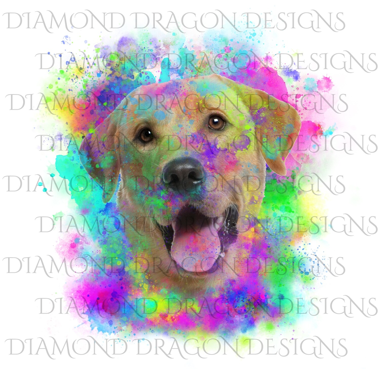 Dogs - Watercolor Lab, Yellow Labrador, Rainbow Labrador, Watercolor dog, Digital Image