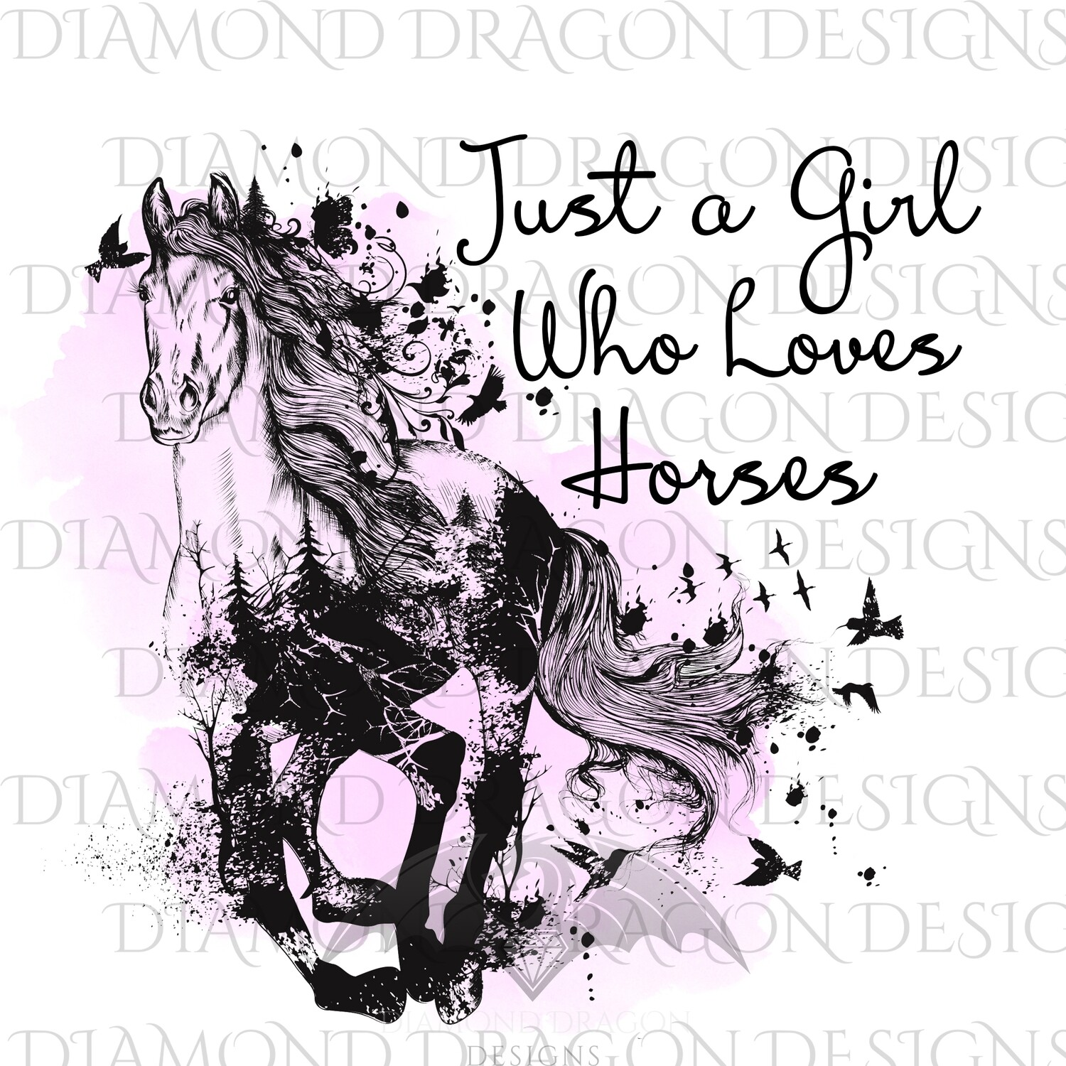 Horses - Just a Girl Who Loves Horses, Pink Watercolor, Digital Image