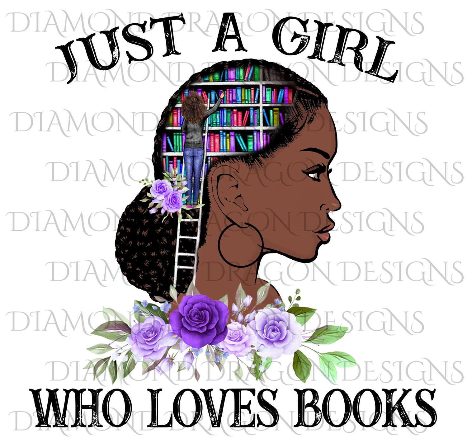 Books - Just a Girl Who Loves Books, Lady Library, Book Girl, Book Lover, Purple Floral, Digital Image