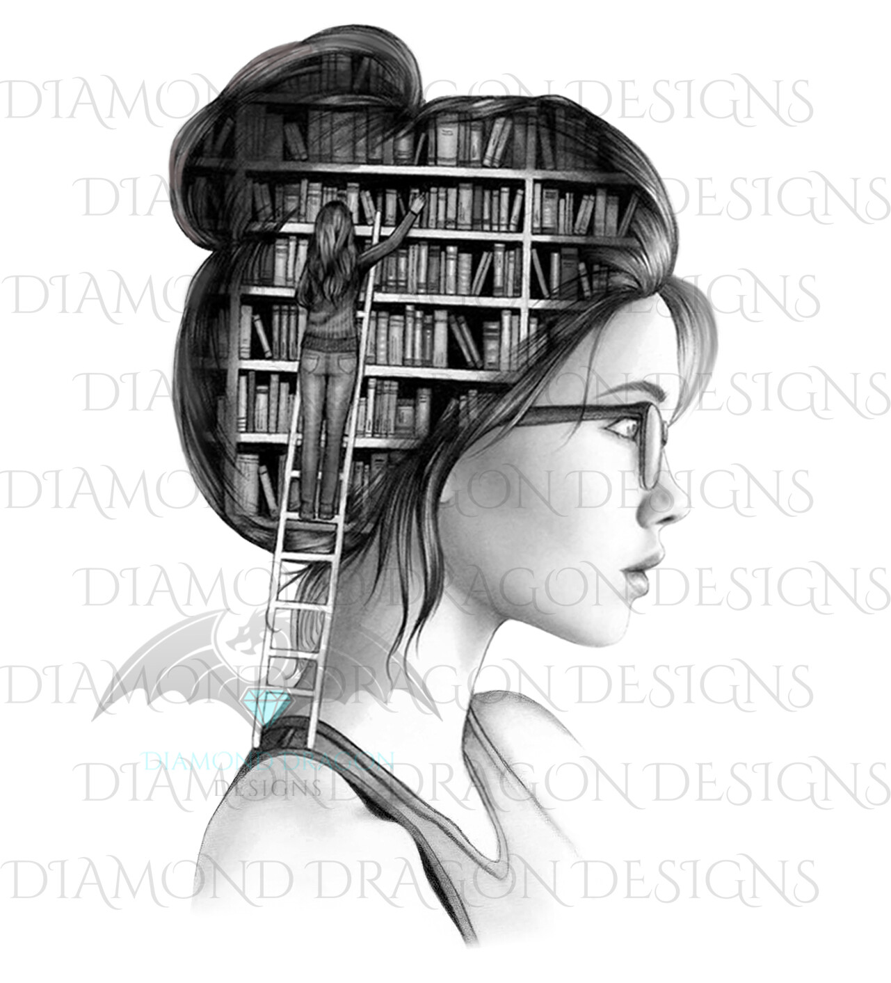 Books - Lady Library, Book Girl, Book Lover, Black and White, Digital Image
