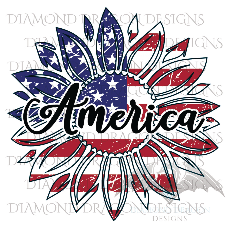 Sunflowers - America, Patriotic Sunflower, Sunflower American Flag, 4th of July, USA,  Vintage, Digital Image