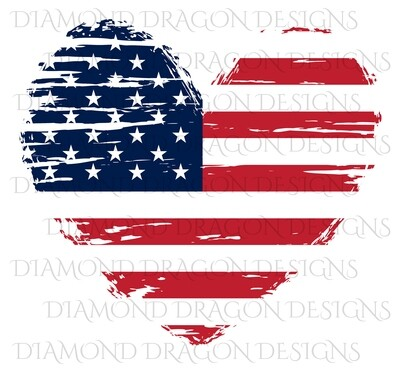 Patriotic - America, Patriotic Heart, American Flag, 4th of July, USA, Vintage, Digital Image