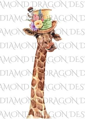 Giraffe - Top Hat Floral Giraffe