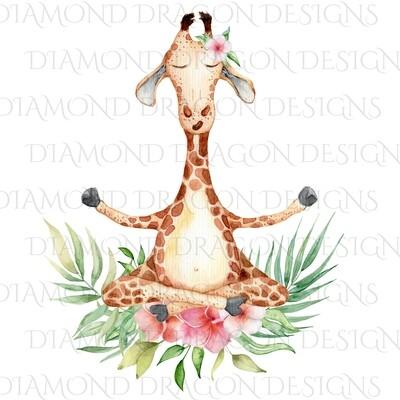 Giraffe - Meditating Floral Giraffe