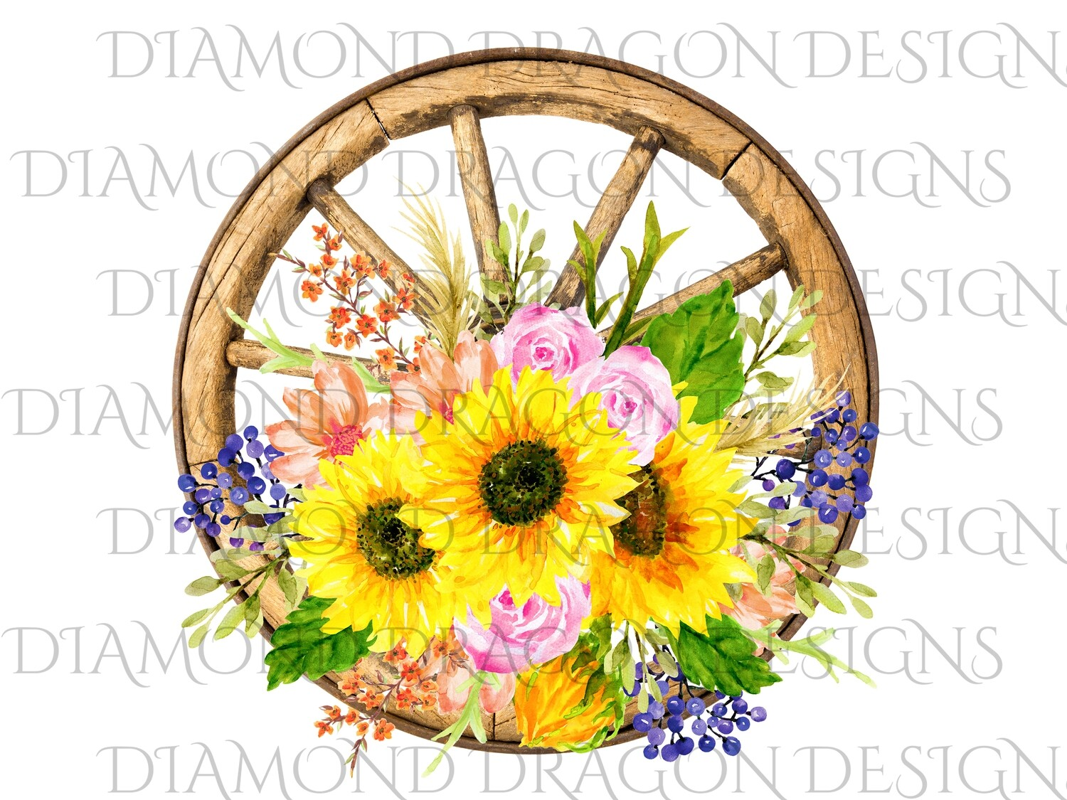 Sunflower - Wagon Wheel Sunflower Bunch, Watercolor, Digital Image