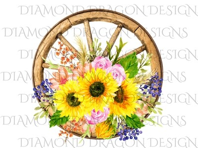 Sunflower - Wagon Wheel Sunflower Bunch, Watercolor, Digital Image