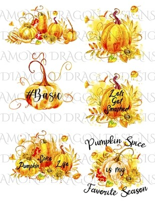 Halloween - Watercolor Pumpkins, Exclusive 6 Image Set - Free Shipping