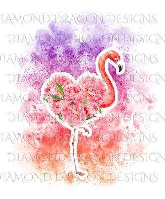 Birds - Watercolor Sunset Floral Flamingo, Flower Flamingo, Watercolor Flamingo, Floral Flamingo