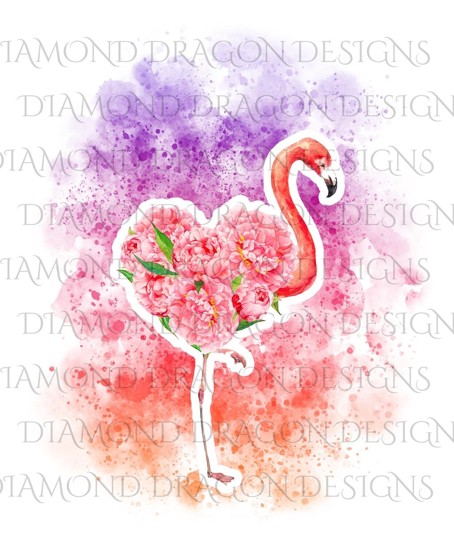 Flamingo - Watercolor Sunset Floral Flamingo, Flower Flamingo, Watercolor Flamingo, Floral Flamingo, Digital Image