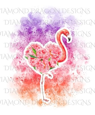 Flamingo - Watercolor Sunset Floral Flamingo, Flower Flamingo, Watercolor Flamingo, Floral Flamingo, Digital Image