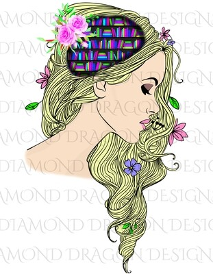 Books - Whimsical, Blonde, Lady Library, Book Lover, Book Girl