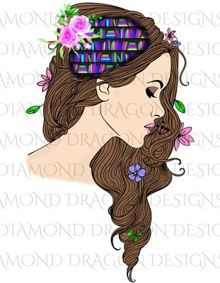 Books - Whimsical, Brunette, Lady Library, Book Lover, Book Girl