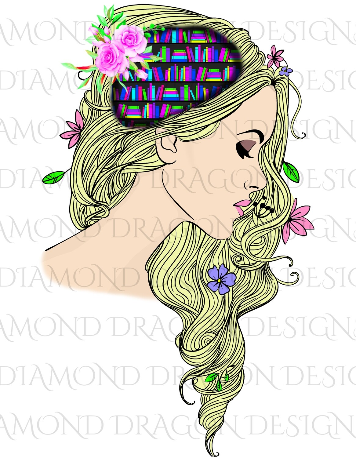 Books - Whimsical, Blonde, Lady Library, Book Lover, Book Girl, Digital Image