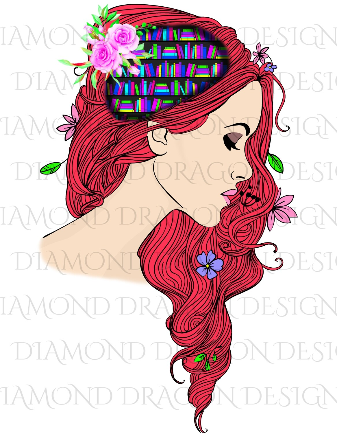 Books - Whimsical, Red Head, Lady Library, Book Lover, Book Girl, Digital Image