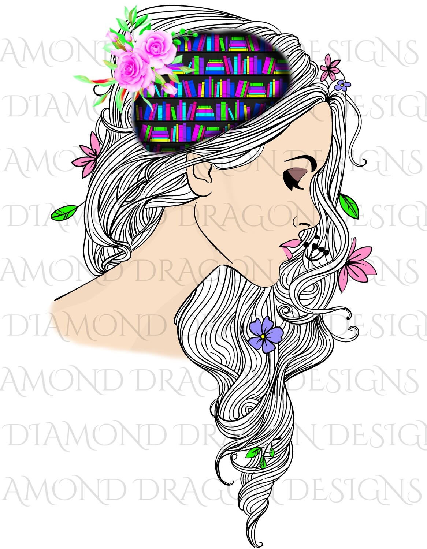 Books - Whimsical, Glitter Hair, Lady Library, Book Lover, Book Girl, Digital Image