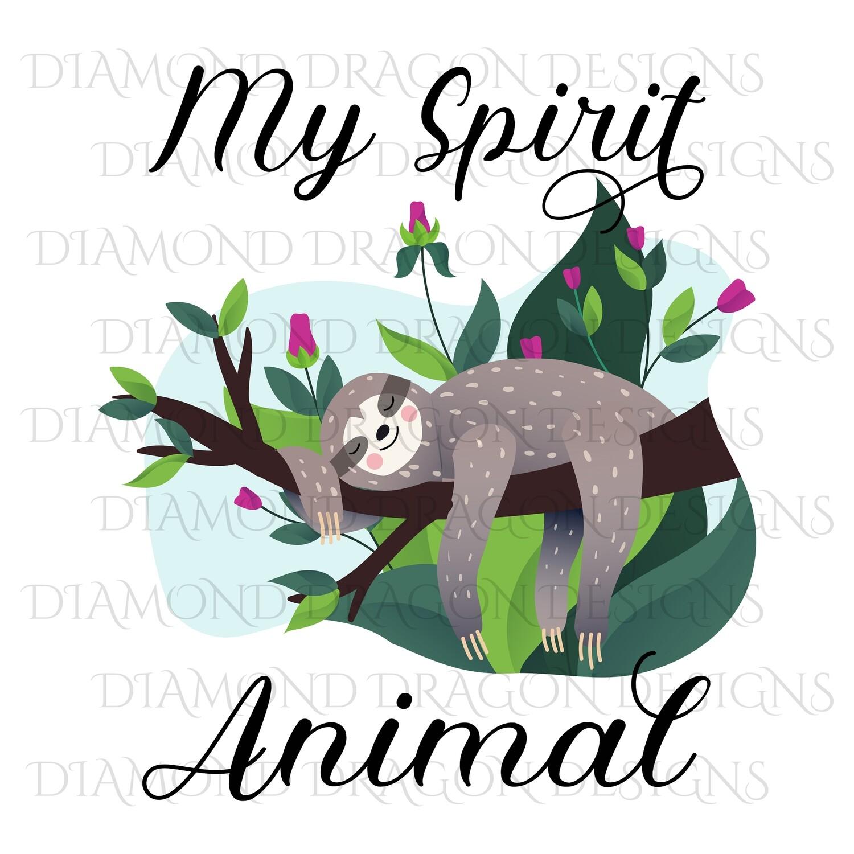 Animals - Cute Sloth, Sloth with Flowers, My Spirit Animal
