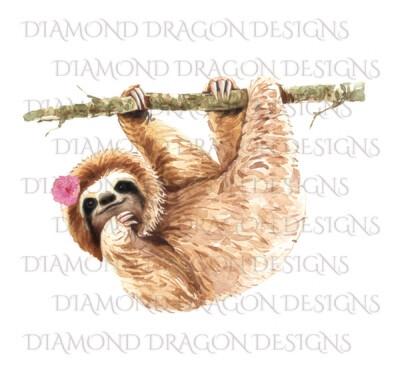 Sloths - Cute Sloth, Sloth with Flower, Digital Image