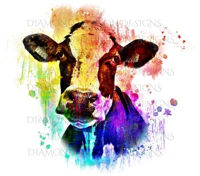 Cows - Cute Cow, Colorful, Rainbow Cow, Watercolor, Digital Image