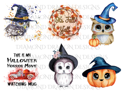 Halloween - Fall, Owls, Vintage Truck, 6 Image Bundle, Waterslides