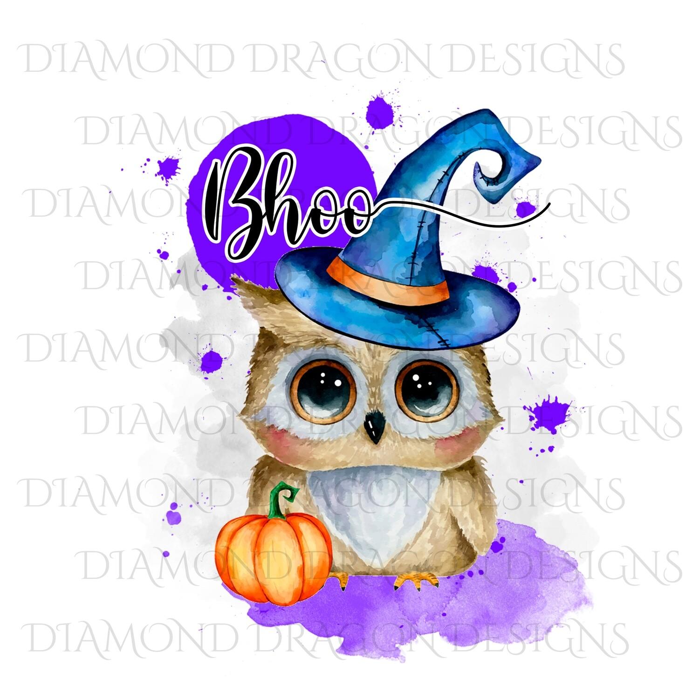 Halloween - Bhoo Pumpkin Cute Owl, Watercolor, Digital Image
