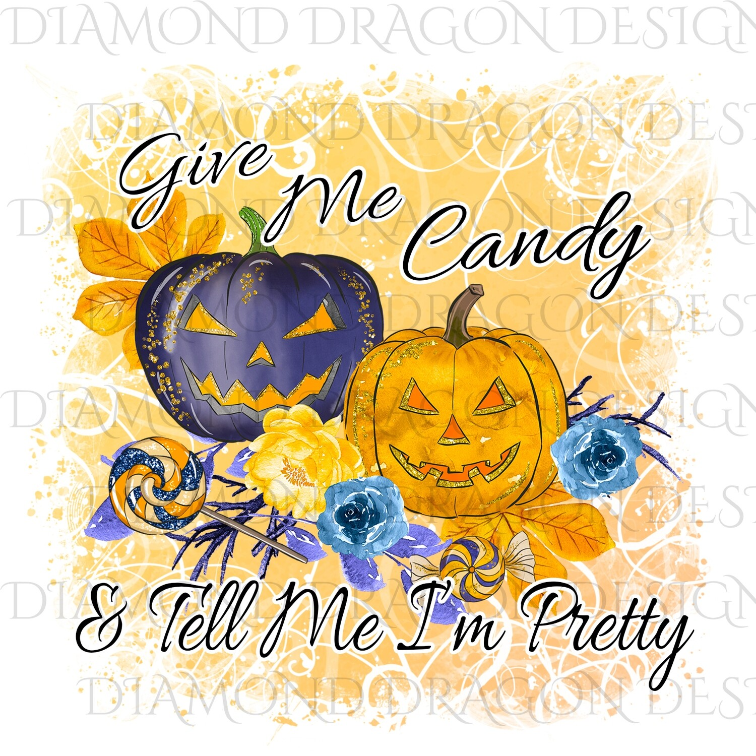 Halloween - Cute Pumpkins, Give Me Candy & Tell Me I'm Pretty, Watercolor, Waterslide