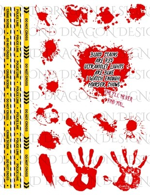Full Page - Crime Tape, Blood Stains Are Red, Blood Splatter Heart, Poem, Waterslide