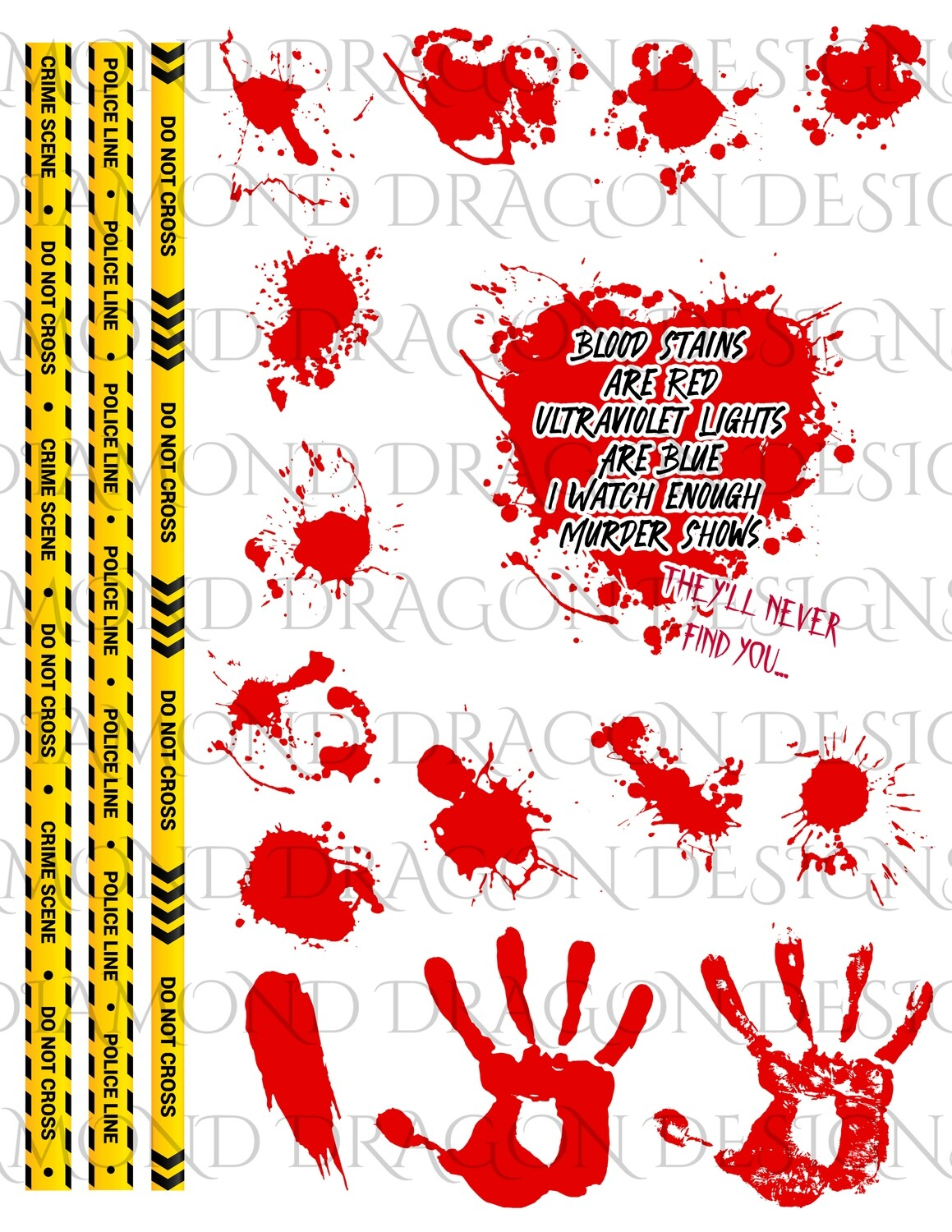 Halloween - Crime Tape, Blood Stains Are Red, Blood Splatter Heart, Full Page, Digital Image