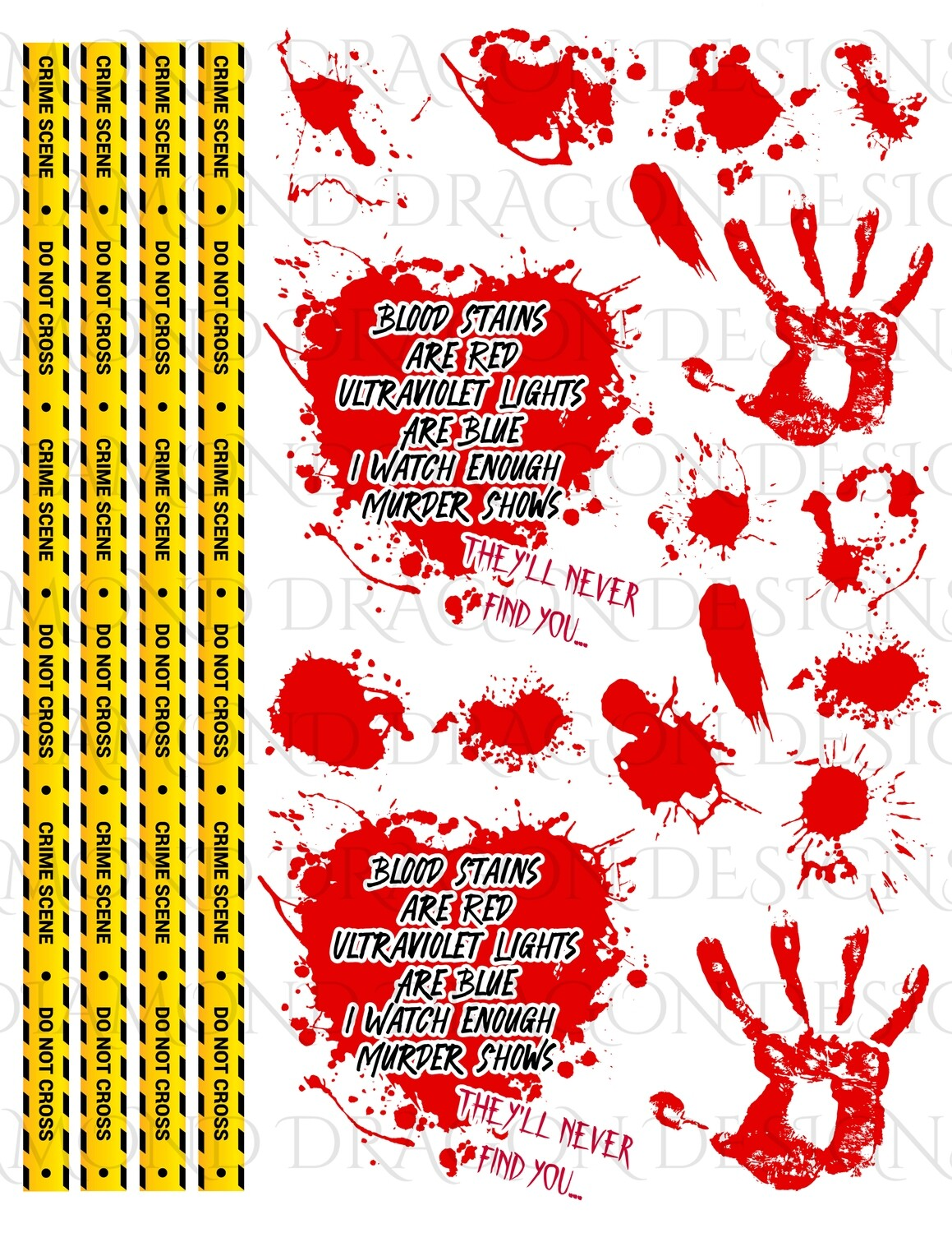 Full Page - Crime Tape, Blood Stains Are Red, Blood Splatter Heart, Poem, 2 Waterslide