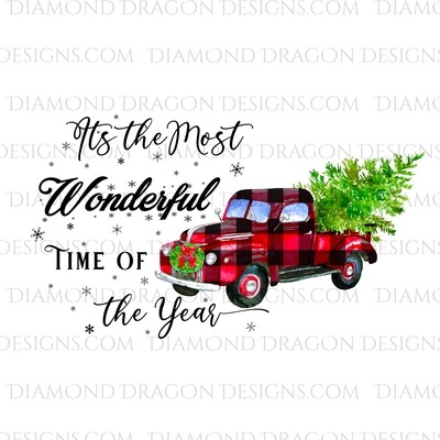 Christmas - Red Plaid Truck, Christmas Tree, It's the most wonderful time, Red Vintage Truck, Digital Image