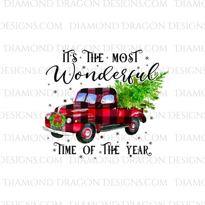 Christmas - Red Plaid Truck, Christmas Tree, It's the most wonderful time, Red Vintage Truck 2, Digital Image