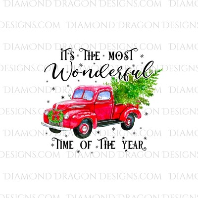 Christmas - Red Truck, Christmas Tree, It's the most wonderful time, Red Vintage Truck 3, Digital Image