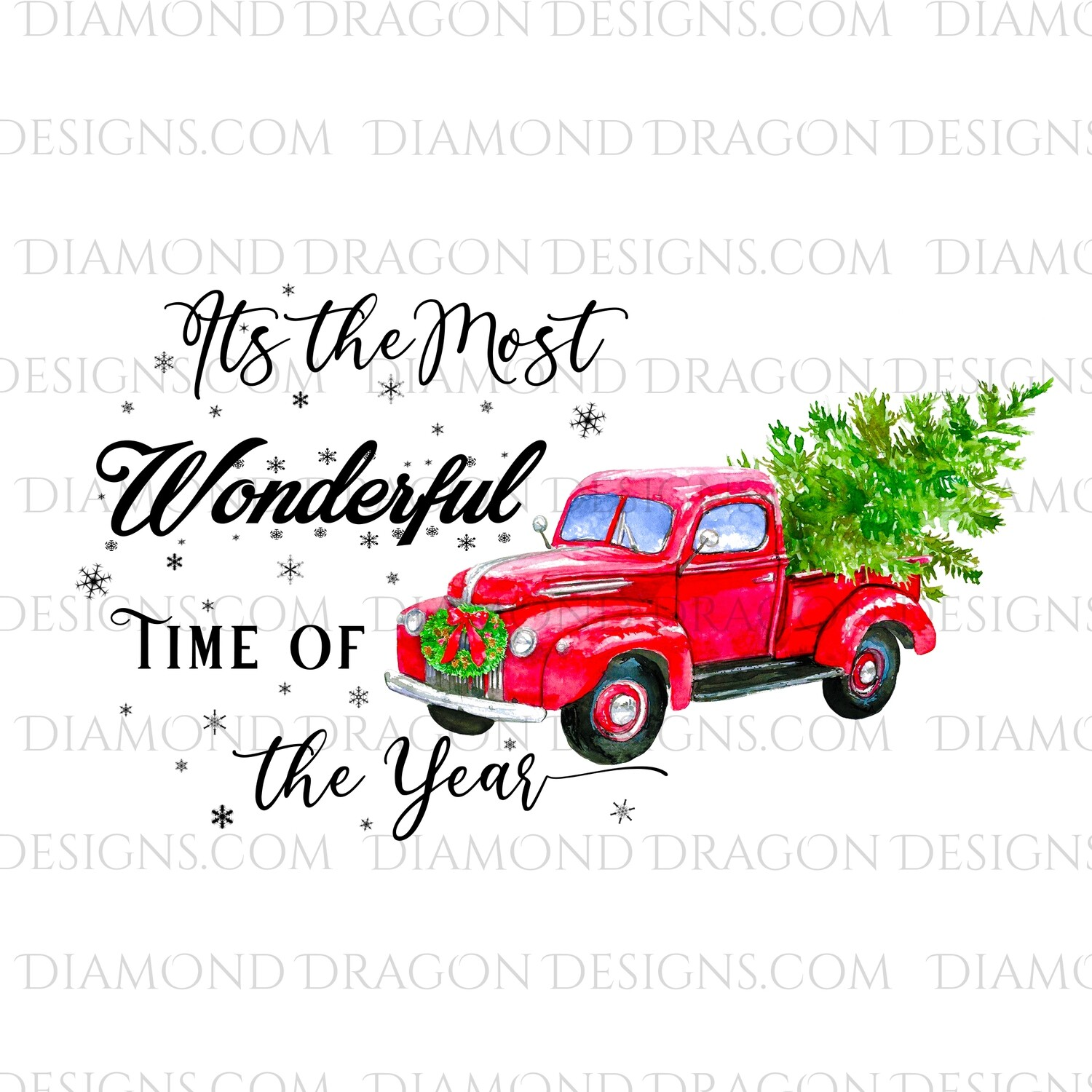 Christmas - Red Truck, Christmas Tree, It's the most wonderful time, Red Vintage Truck 4, Digital Image