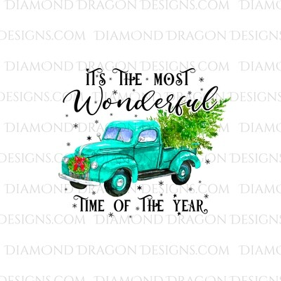 Christmas - Blue Truck, Christmas Tree, It's the most wonderful time, Blue Vintage Truck, Digital Image